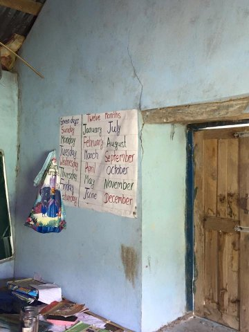 A crack inside a classroom of Bhairabi Primary School