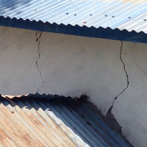 Damages on the Outer Wall of School Building