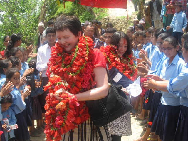 The Student Offering Garland to the Ambassador 2