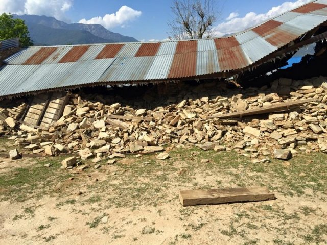 Fallen Roof of Dharapani Secondary School