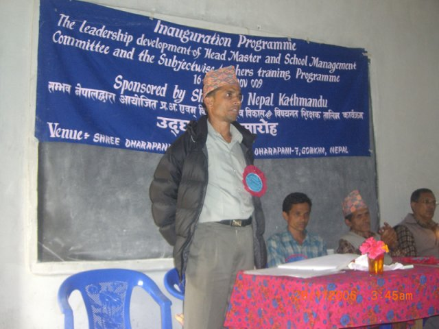 The principal of Dharapani School delivering a speech during the inauguration of the training