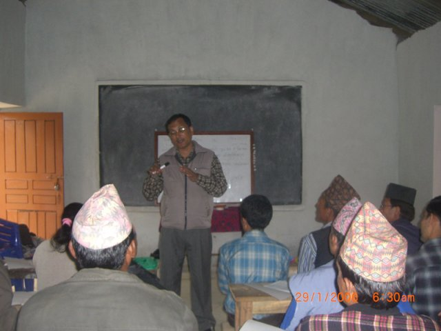 Trainer Bom Bahadur Thapa instructing the participant teachers