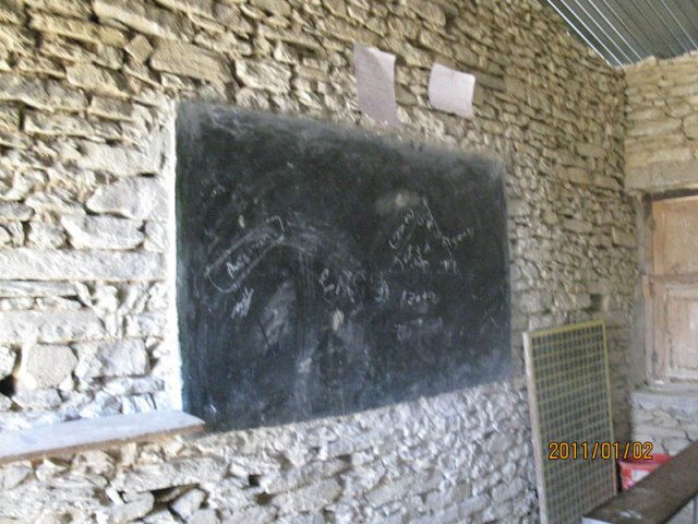 A blackboard of one of the classrooms