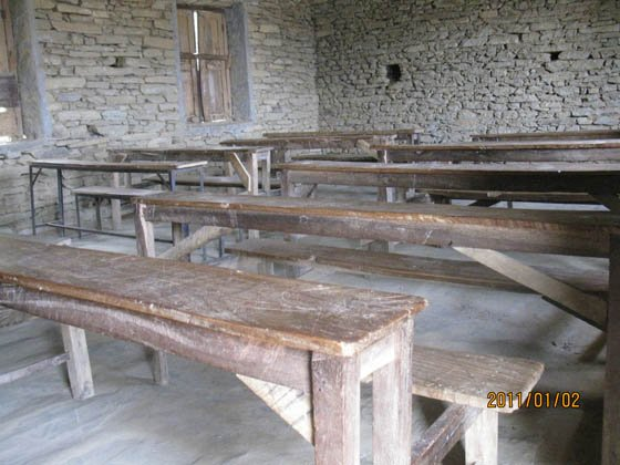 Some desks in Dharapani need repairing