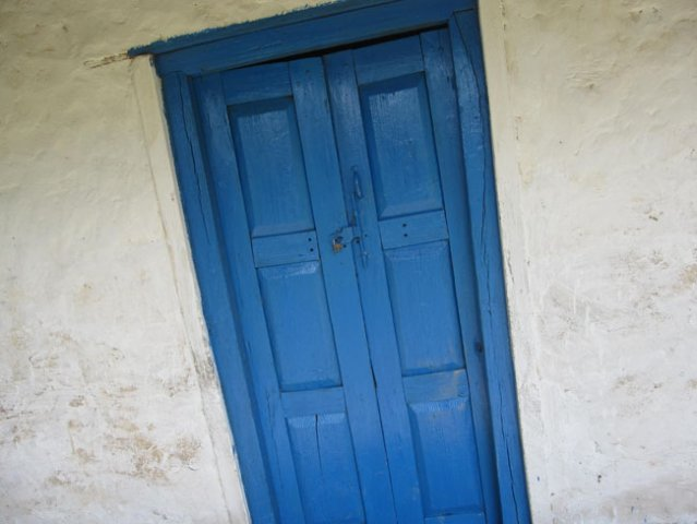 Colored Doors Framed and plastered walls