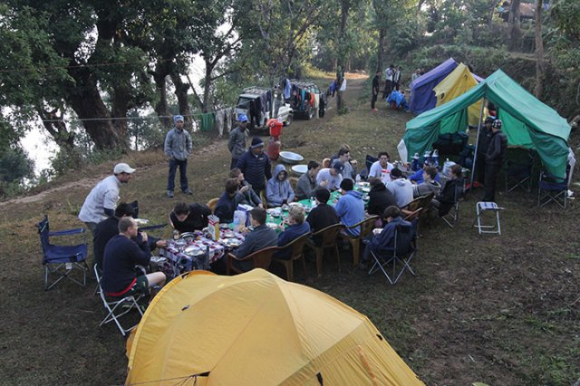 Dining at the camping site