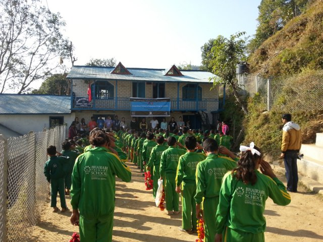 Gathering at the school