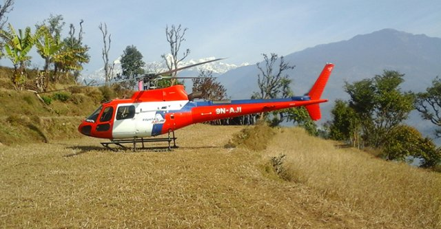 Helicopter That Carried Education Minister of Nepal