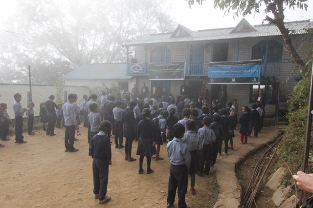 Students of Bhairabi School on the Foggy morning
