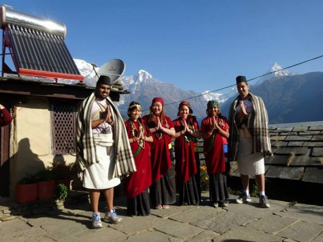 Volunteers in nepali cultural dress