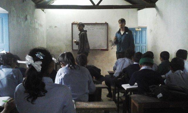 Volunteers teaching at Bhairabi