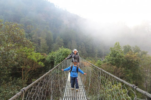 little Sambhav on the Suspension Bridge